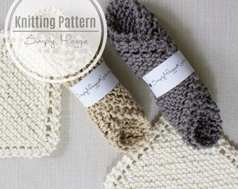 "Knit Scrubbies // Knit Wash Cloth // Beginner's Knitting Pattern // 7"" by 7"" // Simply Maggie"