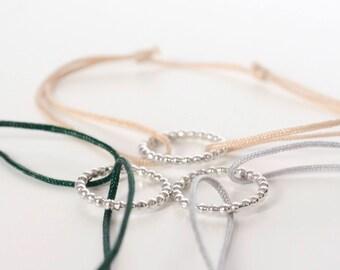 Silver Bracelet - Green, Beige, Grey link