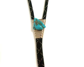 Turquoise Bolo Tie Vintage Black and Gold Bolo