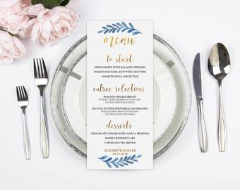 Printed Menu Card, Wedding Menu Card, Real Gold Foil, Blue Wedding, Blue Watercolor, Floral Menu Card, Custom Food Card, Reception Card
