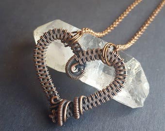 Boho Copper Gift, Boho Gifts, Gifts for Moms, Copper Heart Necklace, Handmade Heart, Wire Wrapped Heart, Wire Wrap Pendant, Copper Hearts
