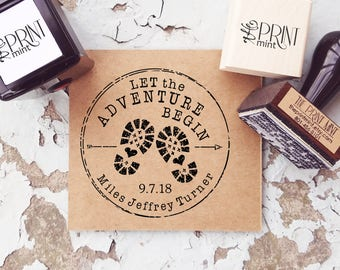 Baby Shower Stamps, Let The Adventure Begin Baby Shower Rubber Stamp, Custom Baby Shower Tags, Adventure Baby Shower Favors CS-10328