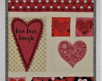 "Valentine Quilted Wall Hanging, Live Love Laugh Mini Art Quilt, Heart Wall Quilt, 14.75""x11.75"", Quiltsy Handmade"