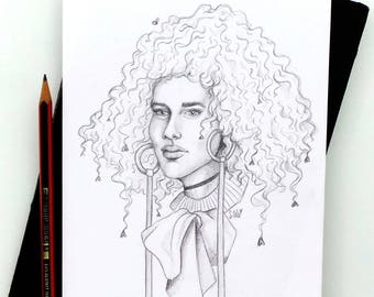 Heartfro - Original Pencil Sketch / Fashion Illustration / Pencil Drawing