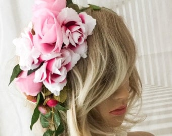Flower headpiece, Bridal headdress, festival headdress, boho headdress,  bridal headpiece,