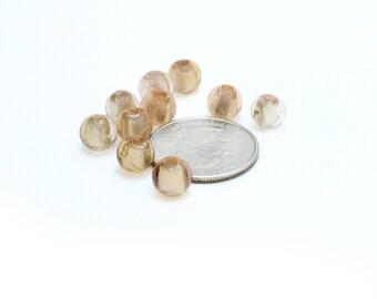 Peach Colored Venetian Murano Glass Ball beads 8mm 5 pcs
