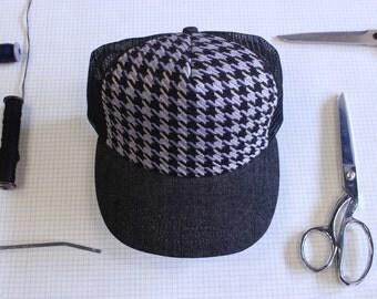 Purple Houndstooth Sabbath Hat, Handwoven, weaving, made in Canada, Trucker hat