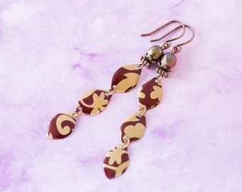 Long Copper and Gold Mismatched Tin Earrings, Tin Jewelry, Lightweight Earrings