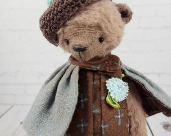 Teddy bear Lisa,  available for adoption, artist teddy, OOAK bear teddy, fabric art toy , collectible teddy, Stuffed toy