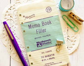 Vintage Woolworth Brand Memo Book Filler Pack/70 Pages/New/Unopened/Scrap Paper/Junk Journal