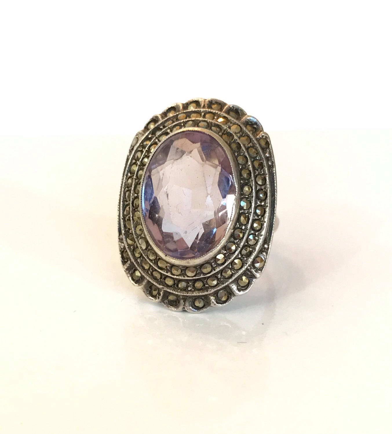 vintage amethyst ring sterling silver marcasite ring