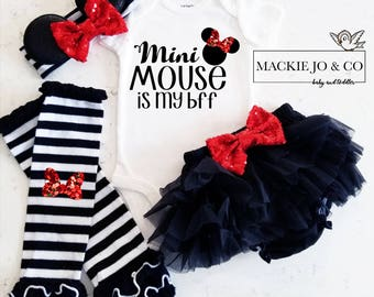 Mini Mouse is my BFF Best Friends glitter baby bodysuit leg warmer bloomer set Red and black baby girl set