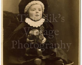 Cabinet Card Photo - Victorian Baby Portrait with Cute Hat - Byrne & Co. of Richmond England
