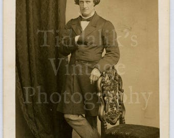 CDV Carte de Visite Photo Victorian Gentleman Standing Hand in Jacket by C T Newcombe of Fenchurch Street London England