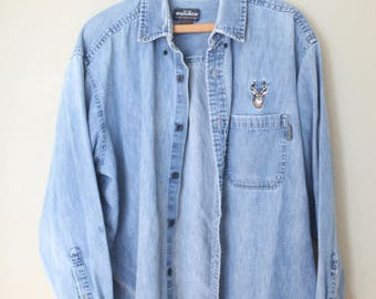vintage distressed chambray blue embroidered elk button up shirt large