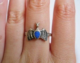 Blue Stone Bat Ring Sterling Silver Size 9