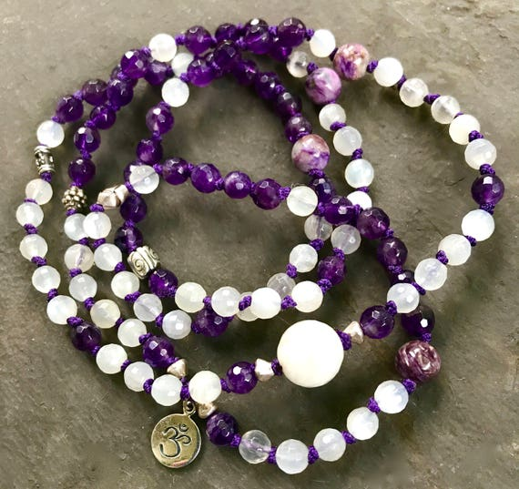 108 Crown Chakra Mala Beads, Amethyst Mala Bracelet, Moonstone, Charoite, Yoga Jewelry, Sahasrara Chakra, Samadhi, Enlightenment,