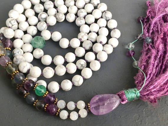 Mala For Calming the Mind - Goddess Mala Beads - Howlite, Fluorite, Moonstone & Amethyst Mala Beads - Enlightenment Mala - Crown Chakra Mala