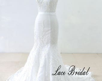 Fit and Flare Vintage Lace Wedding Dress, Romantic Wedding Dress, Mermaid Wedding Dress