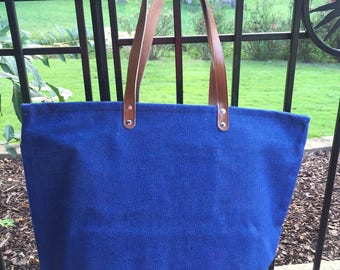NEW!!  Navy Blue Jute ZipperTote, Reuseable Grocery Bag, Beach Bag, Carry-All, Monogrammed Tote and More!