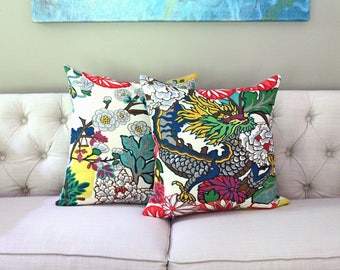 PAIR of Schumacher Chiang Mai Dragon Alabaster - Designer Pillow Covers - Choose Your Size
