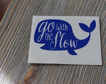 Whale Decal - Go With The Flow Whale Decal - Beach Monogram Decal - Beach Decal - Whale Sticker - Whale Monogram Decal - Car Decal - Whale