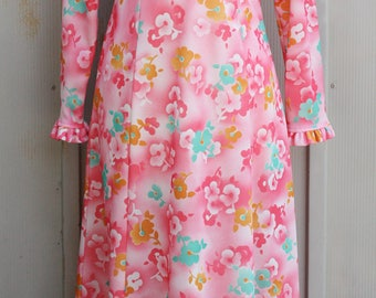 70s Maxi Dress - Pink Floral Dress - Long Sleeve Pink Dress - Vintage Ruffle Dress - 1970s Dress - 60s Hippie Dress - 1960s Groovy Dress