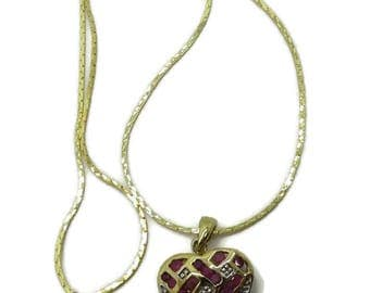 Pendant - Ruby Diamond Heart Pendant, Gold Plated Sterling Silver Pendant, Cobra Chain, Gift for Her, FREE SHIPPING