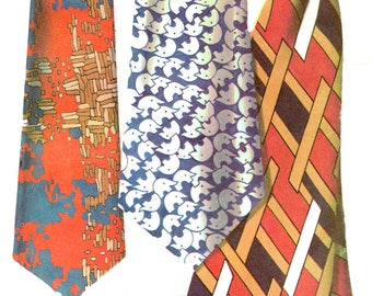 Sewing Pattern Vintage 1970s Mod Mens' Tie Pattern In Three Sizes  McCall's 2568