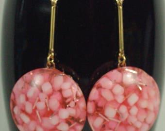 Sale- Vintage Pink Confetti Earrings, 50's Pink Dangle Earrings, Everyday Earrings, Mid-century Acrylic Pink Earrings, Pink Summer Earrings