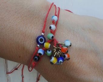 Red string bracelet. Evil eye bracelet. Red string evil eye bracelet. Kabbalah bracelet. Greek evil eye bracelet. Red string of fate.