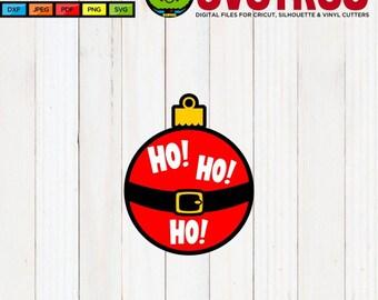 HoHoHo SVG Christmas Ornament SVG Christmas Designs SVG Files for Cricut Files for Silhouette Scan n Cut Files Santa svg Christmas Decor
