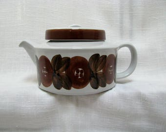 ARABIA Finland Teapot Ulla Procope Rosmarin Brown Anemone Tea Coffee Pot Lid & Infuser Hand Painted Botanical MCM Scandinavian Art Pottery