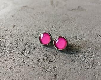 Hot pink stud earrings, posts by CuteBirdie