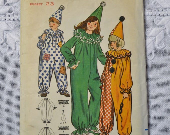 Vintage Butterick 6363 Sewing Pattern Childs Clown Costume Halloween Theater Size 4 DIY Fashion Sewing Crafts PanchosPorch