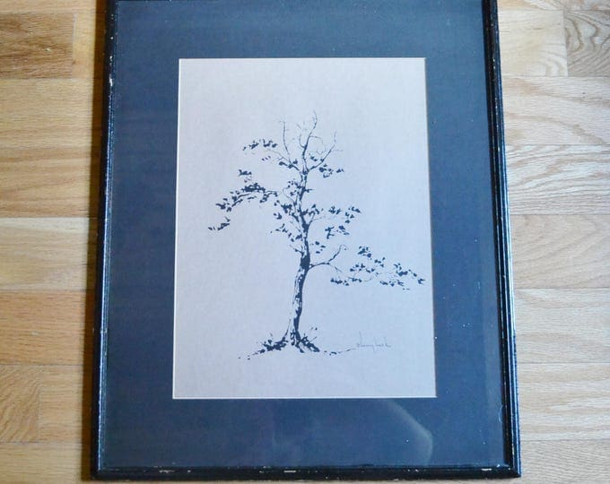 Vintage Tree Ink Drawing Signed Minimal Decor Nature Inspired Framed Ready to Hang PanchosPorch