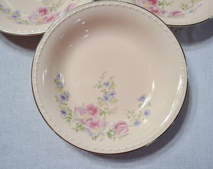 Vintage Taylor Smith Taylor Pink Soup Bowl Set of 3 Orchid Iris Floral Pattern TST193 Replacement PanchosPorch