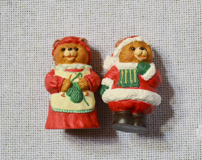 Vintage Hallmark Merry Miniatures Mr and Mrs Claus Bear Holiday Decor in Box 1995 PanchosPorch