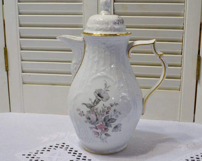 Vintage Rosenthal Grey Rose Coffee Pot with Lid Sanssouci White Gray Pink Floral Germany PanchosPorch
