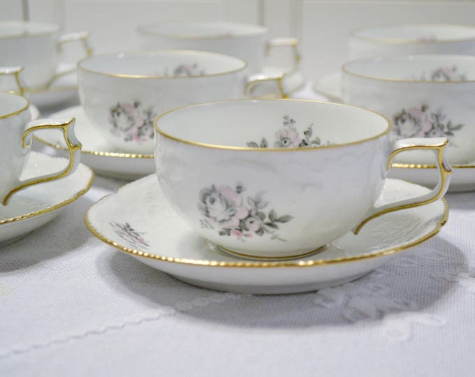 Vintage Rosenthal Grey Rose Cup and Saucer Set of 8 Sanssouci White Gray Pink Floral Germany PanchosPorch