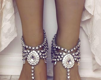Fatima Silver Barefoot Sandals Silver Anklet for Bride Beach Wedding Shoes Bridal Sandals Rhinestone Foot jewelry Bottomless Sandals for her