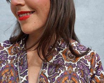 Maxi Dress Boho, 70s Paisley Dress, Tunic Dress, Dress With Sleeves, Long Tunic Dress, Vintage Maxi Dress, Hippie Dress, Bright Column Dress