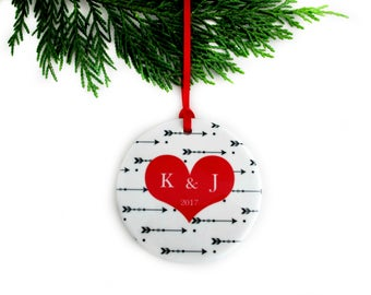 Personalized First Christmas Ornament with Heart & Arrows - Couples Boho Ornament - Unique Bridal Shower, Wedding Gift - Bohemian Christmas