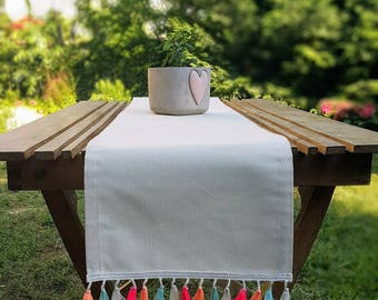 Tassel Table Runner, Natural Cotton Canvas Table Runner, Natural Canvas, Colorful Tassels, Tassel table runner, Pink Coral Aqua Cream Tassel