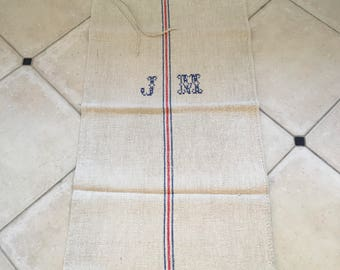 NS13159 Red and Blue Stripe Twill Monogrammed Natural Vintage Linen Grainsack