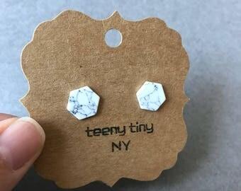 White Marble Hexagon Stud Earrings - Sterling Silver