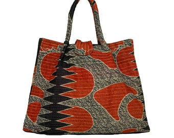 KANTHA Bag - Large - Red and Black design on Pale Grey