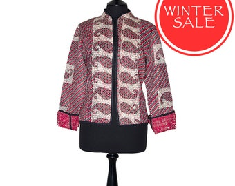 WINTER SALE - Large size - Short Kantha Jacket - Red black and off-white. Reverse mainly red.