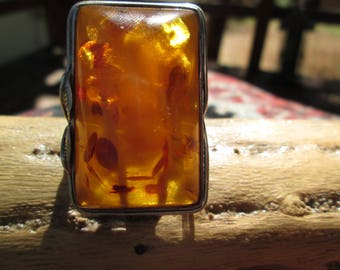 Huge Amber and Sterling Silver Ring Size 9