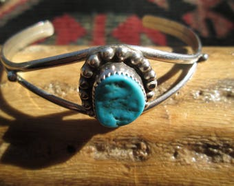 Native American Turquoise and Sterling Silver Cuff Bracelet